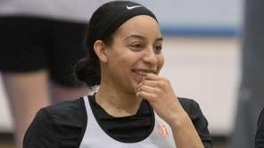 New York Liberty's Bria Hartley watches practice during media