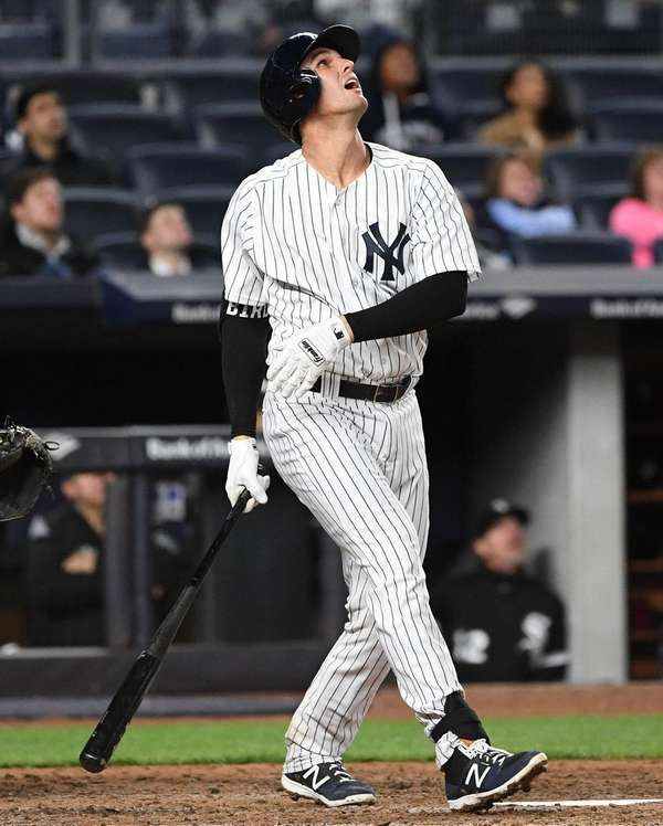 Yankees first baseman Greg Bird pops out against