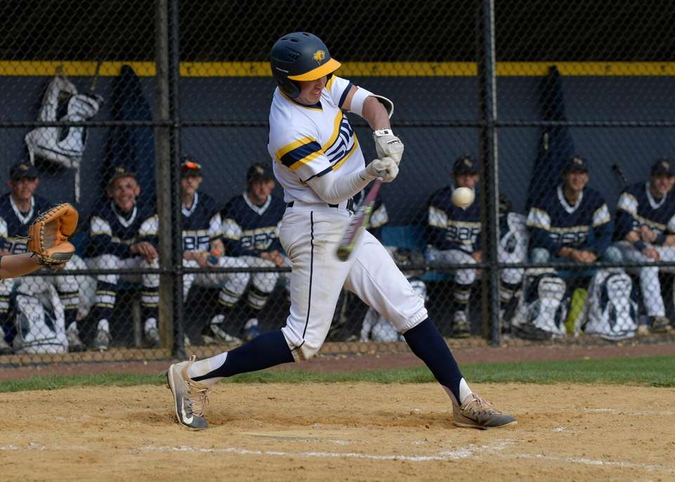 Shoreham Wading River's Brian Morrell connects for a