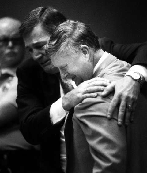 James McCready hugs his attorney Spota after he's ruled a free man on May 25, 1993.