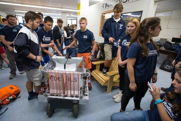 Members of Huntington High School's robotics team are
