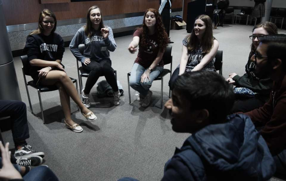 Long Island valedictorians visit Newsday in Melville, May