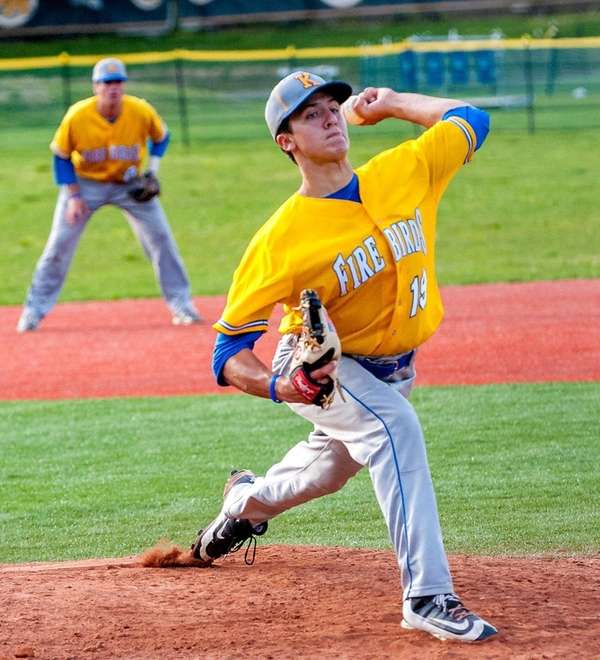 Kellenberg starting pitcher Chris Cappas throws during a game against