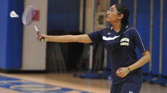 Anvita Bhaskara of Jericho returns a volley during