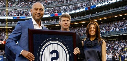 Retired New York Yankees shortstop Derek Jeter poses