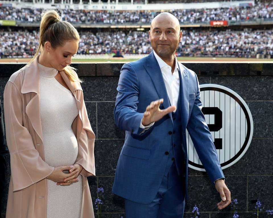 With his wife Hannah Jeter at his side,