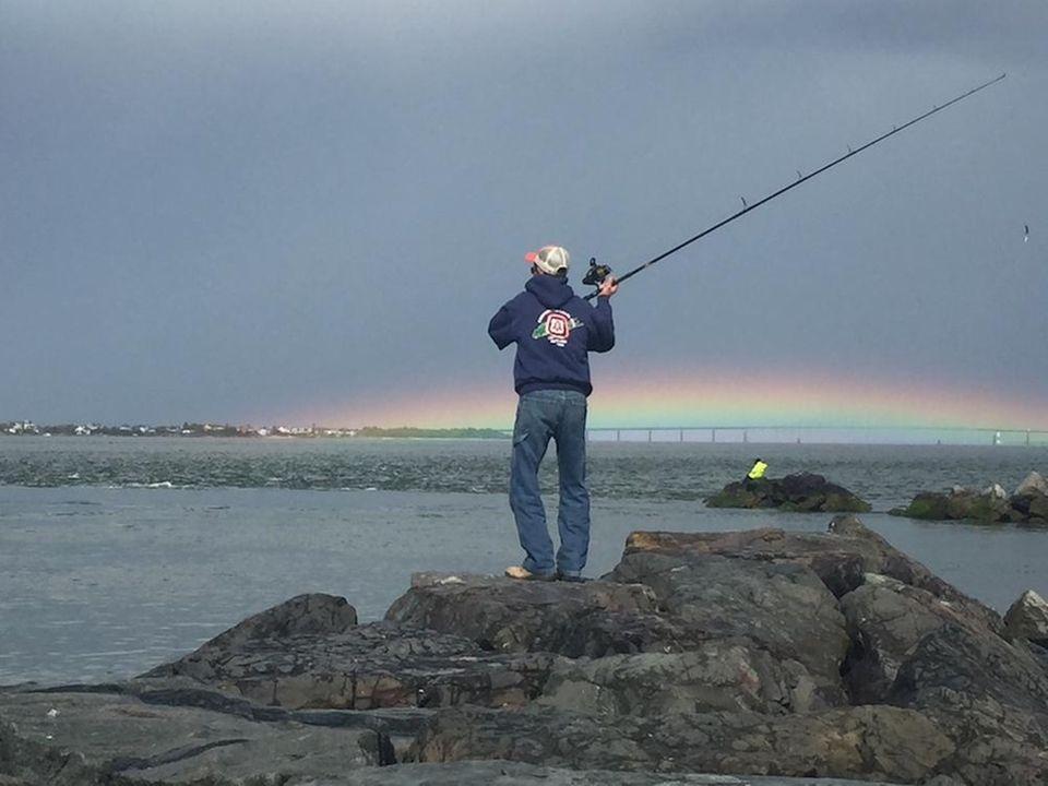 Chuck Gordon fishing Robert Moses Democrat Point. Bridge