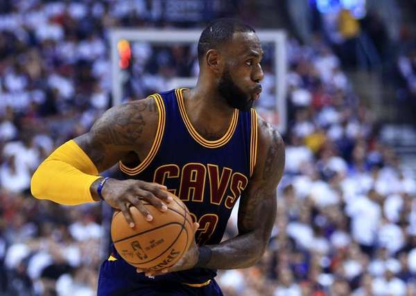 Lebron James #23 of the Cleveland Cavaliers dribbles
