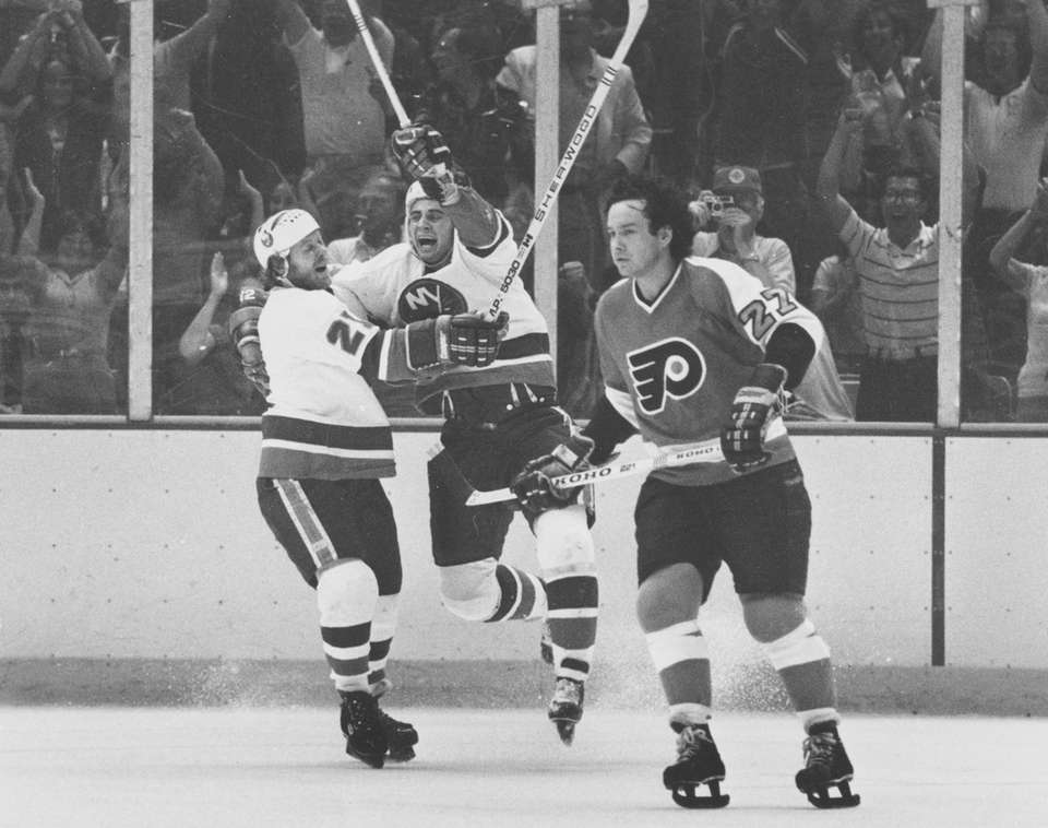 Duane Sutter of the New York Islanders celebrates