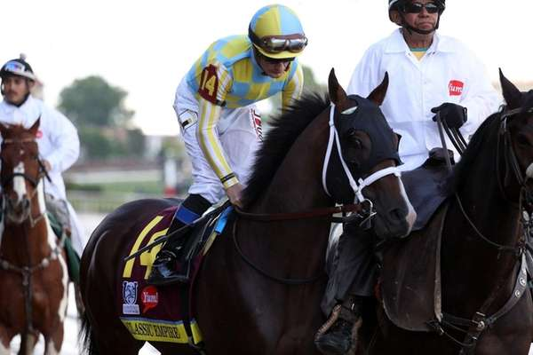 Classic Empire, ridden by jockey Julien Leparoux, during