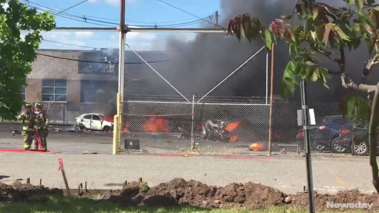 A Learjet heading to Teterboro Airport crashed into