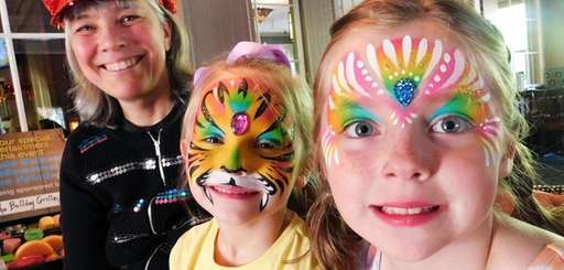 Children can have their faces painted on Monday