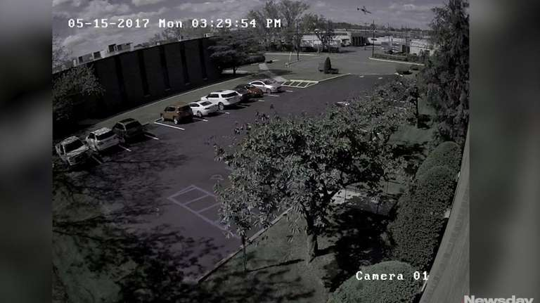 Surveillance footage shows the moment aLearjet attempting to