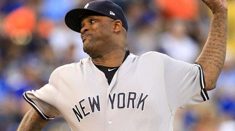 CC Sabathia of the Yankees pitches against the