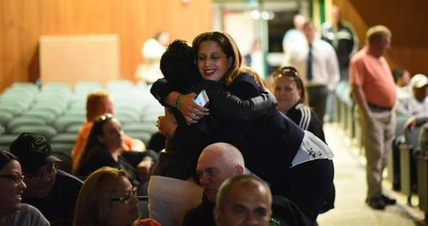 Maria Gonzalez-Prescod is congratulated after she is elected