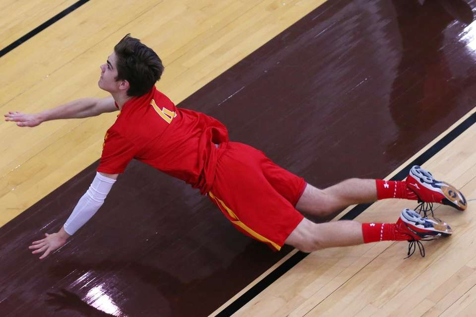 William Sanchez of the Chaminade dives to make