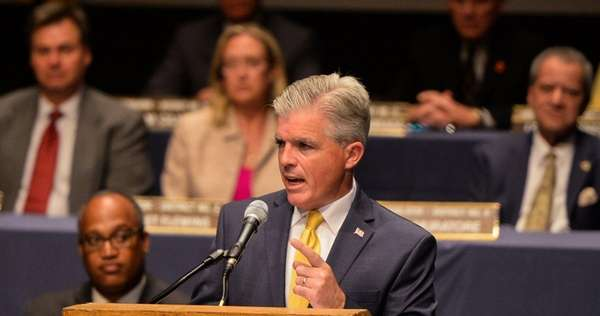 Suffolk County Executive Steve Bellone delivers the State