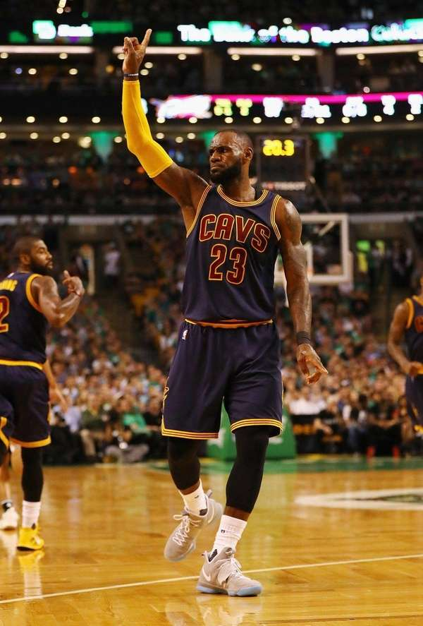 LeBron James of the Cleveland Cavaliers reacts after