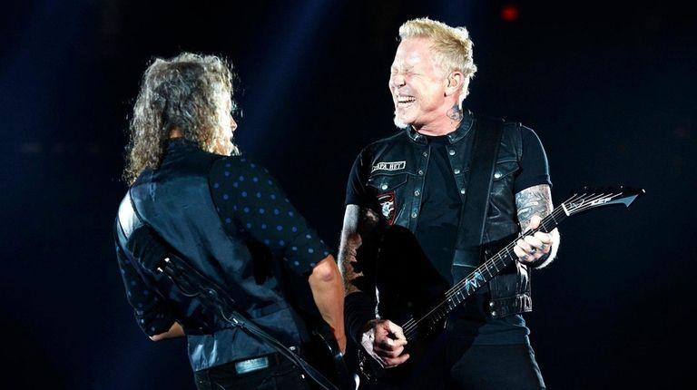Kirk Hammett and James Hetfield of Metallica jam