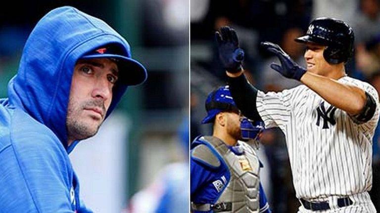 Matt Harvey of the New York Mets, left,