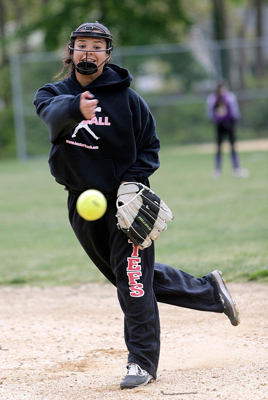 Islip pitcher Julia Pastrana, who wears a protective