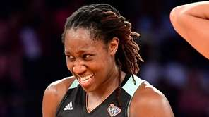 Tina Charles of the New York Liberty reacts