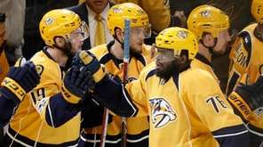 Nashville Predators defenseman P.K. Subban (76) is congratulated