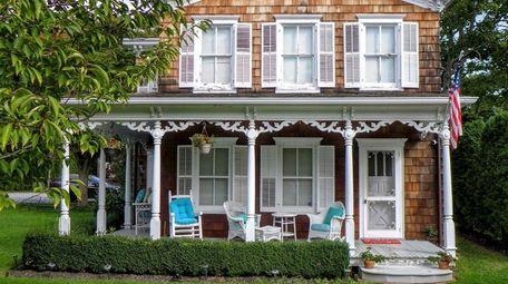 This three-bedroom Bellport home has deeded dock rights