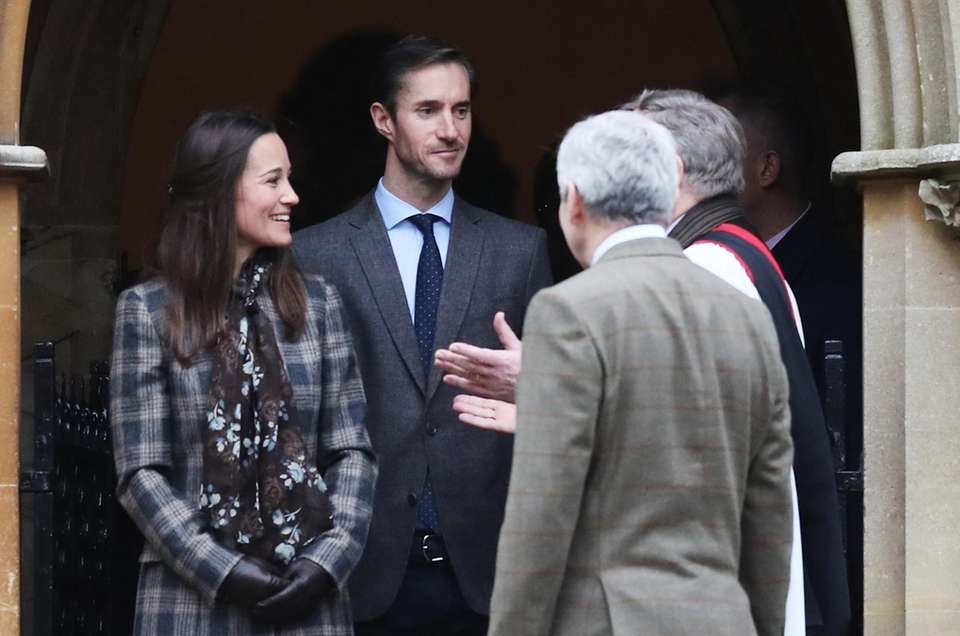 Pippa Middleton and James Matthews departing after attending