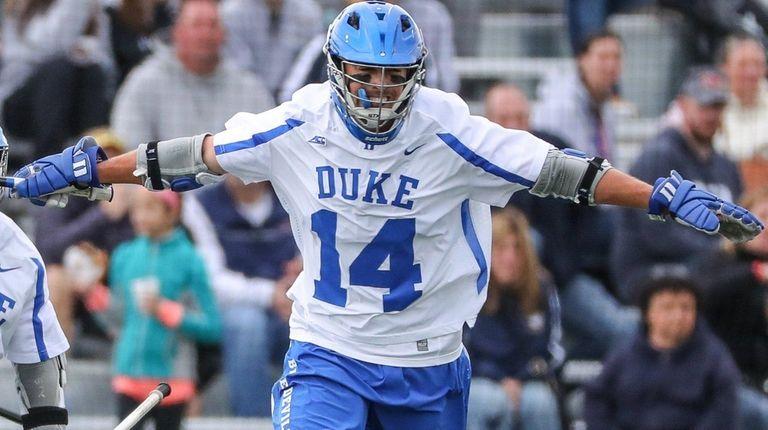 Justin Guterdingof Duke celebrates his goal at the