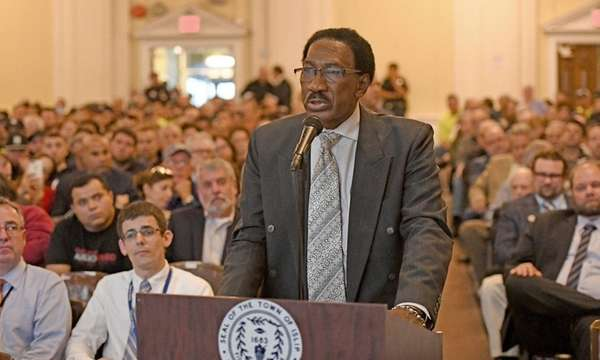 Brentwood schools Superintendent Levi McIntyre speaks at a