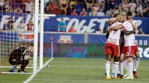 New York Red Bulls players celebrate a goal