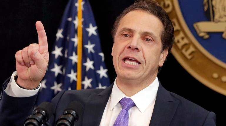 New York Gov. Andrew Cuomo delivers an address