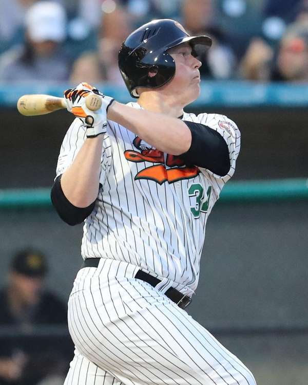 Ducks DH Marc Krauss smacks a base hit