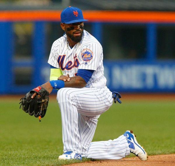 Jose Reyesof the New York Mets looks on