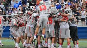 Ohio State celebrates after they defeated Duke 16-11 in