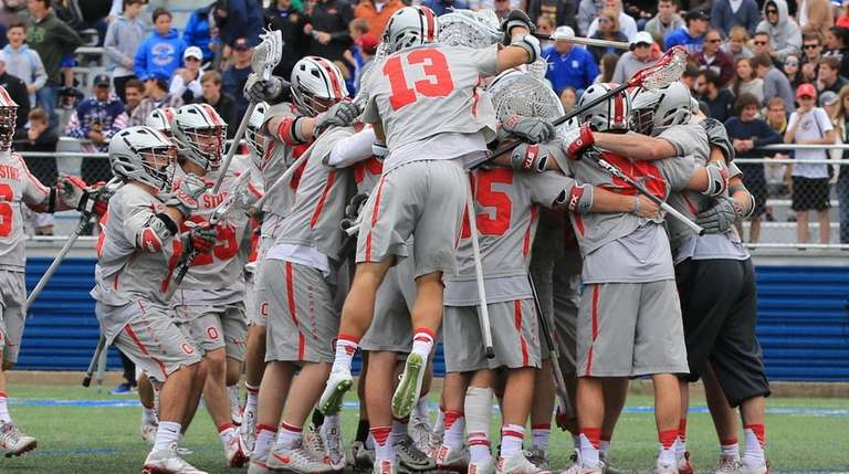 Ohio State celebrates after they defeated Duke 16-11in