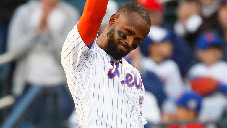 Jose Reyesof the New York Mets acknowledges the