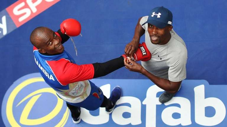 Julius Indongo takes part in a public workout