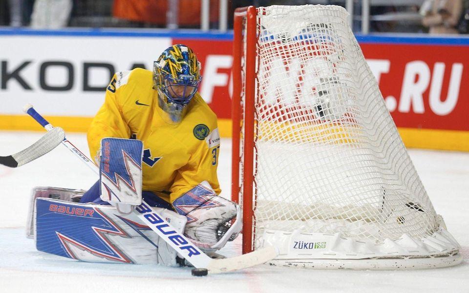 Sweden's goalie Henrik Lundqvist saves the shot during