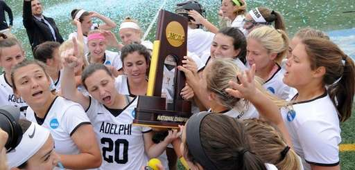 The members of the Adelphi women's lacrosse team