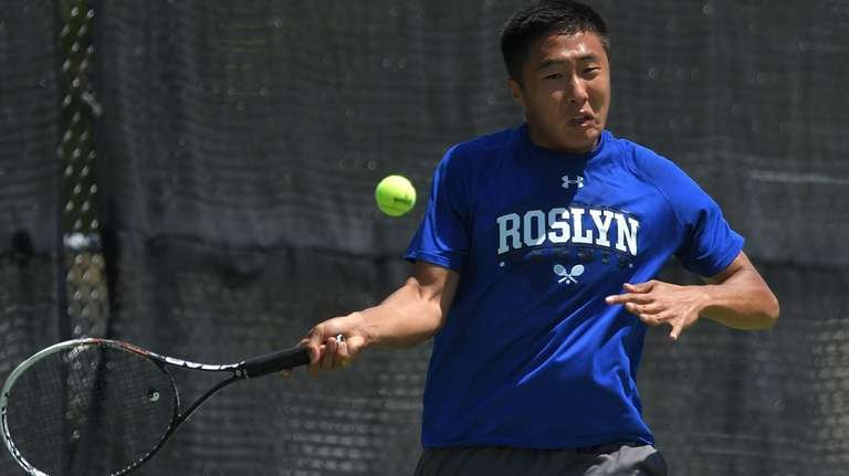 Sangjin Song of Roslyn returns from volley in