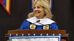 Jill Biden addresses Hofstra University students during a