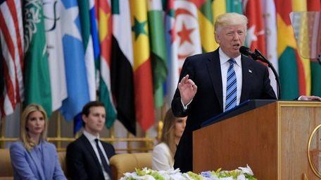 President Donald Trump speaks during the Arabic Islamic