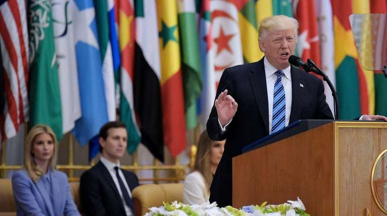 President Donald Trump speaks during the Arabic Islamic