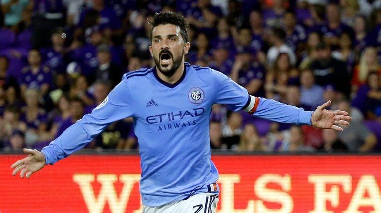 New York City FC's David Villa (7) celebrates