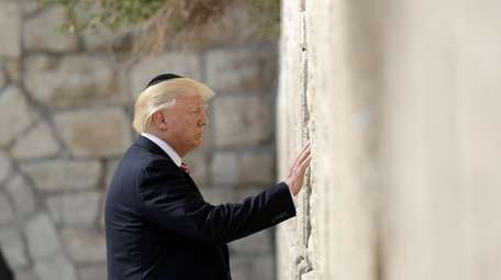 President Donald Trump visits the Western Wall, Monday,