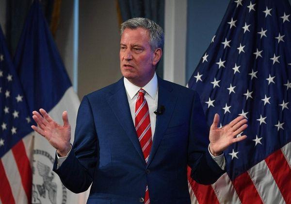 Mayor Bill de Blasio during a press conference