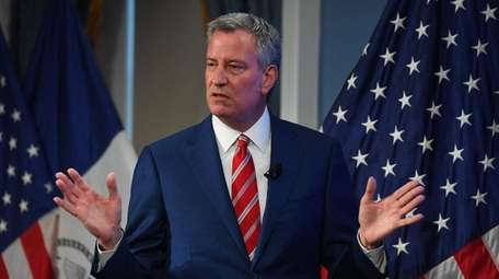 Mayor Bill de Blasio during a press conference