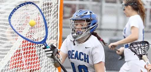 Long Beach's goalie Sarah Reznick works ball away